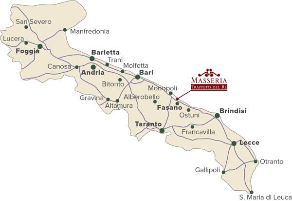 Cartina Puglia Molfetta.Masseria Trappeto Del Re Location